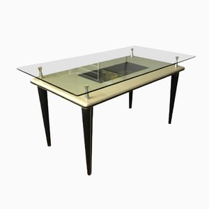 Mid-Century Italian Skai and Glass Dining Table, 1950s