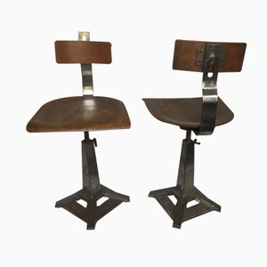 Vintage German Factory Chairs from Singer, Set of 2