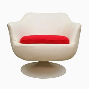 Deutscher Tulip Chair in Rot & Weiß, 1960er