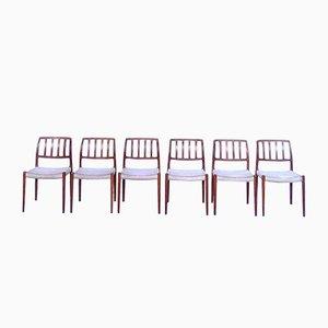 Dänische Modell 83 Teak Esszimmerstühle von Niels O. Møller für J.L. Møller, 1960er, 6er Set