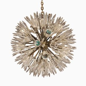 French Brass & Glass Sputnik Chandelier, 1950s