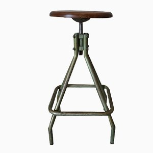 French Industrial Adjustable Stool, 1950s