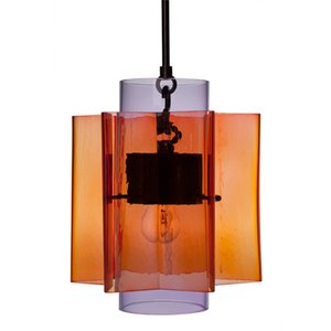 Petrona Star-shaped Red and Purple Mouth Blown Glass Pendant Light by Fred&juul