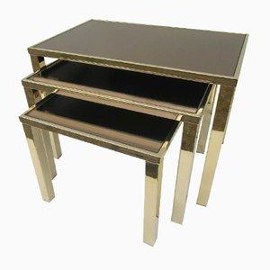 Tavolini a incastro dorati di Belgochrom, anni '70