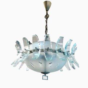 Lámpara de araña italiana de Cristal Art, 1960