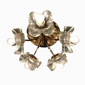 Brass Light with Ice Glass Flowers from Mazzega, 1960s