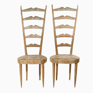 High Back Side Chairs by Paolo Buffa, 1950s, Set of 2