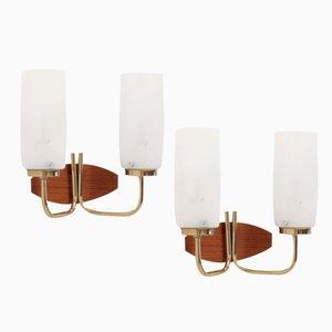 Lámparas de pared noruegas de T. Røste & Co, años 60. Juego de 2