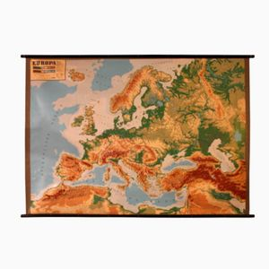 Mapa de Europa holandés en relieve, años 60