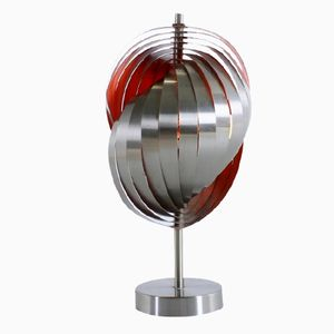 Spiral Shell Lamellae Steel Table Lamp by Henri Mathieu, 1960s