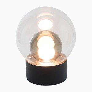 Lampada Small Boule in vetro trasparente e grigio con base nera di Sebastian Herkner per Pulpo & Rosenthal