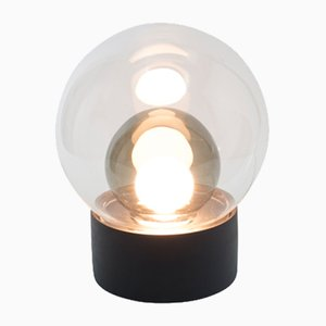 Small Boule in Clear & Smoky Grey Glass with a Black Base by Sebastian Herkner for Pulpo & Rosenthal