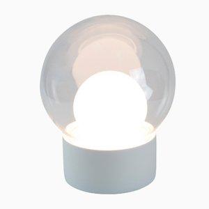 Lámpara Boule pequeña de vidrio transparente y opalino blanco con base blanca de Sebastian Herkner para Pulpo & Rosenthal