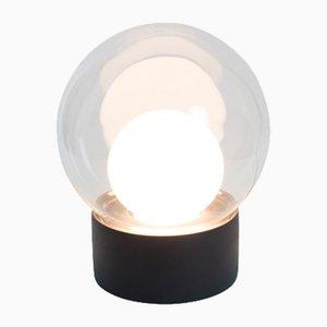 Lámpara Boule pequeña de vidrio transparente y opalino blanco con base negra de Sebastian Herkner para Pulpo & Rosenthal