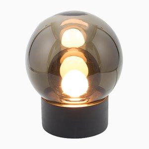 Lámpara Boule pequeña de vidrio ahumado gris con base negra de Sebastian Herkner para Pulpo & Rosenthal