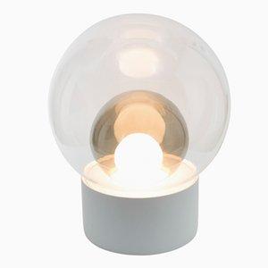Lámpara Medium Boule de cristal ahumado gris y transparente con base blanca de Sebastian Herkner para Pulpo & Rosenthal
