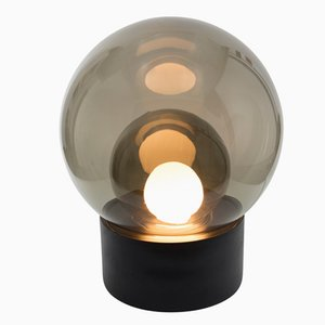 Medium Boule in Smoky Grey Glass with a Black Base by Sebastian Herkner for Pulpo & Rosenthal
