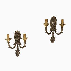 Lámparas de pared italianas de Reggiani, años 50. Juego de 2
