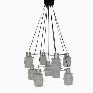 Lámpara de araña de vidrio y latón, años 70
