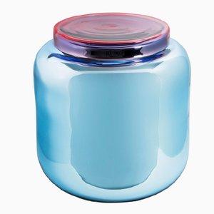 Tavolo a forma di recipiente blu chiaro e rosso di Sebastian Herkner per Pulpo