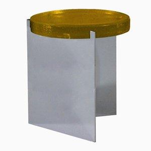 Alwa en plateado con una superficie de cristal amarillo de Sebastian Herkner para Pulpo