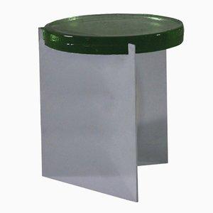 Alwa en plateado con una superficie de cristal verde de Sebastian Herkner para Pulpo