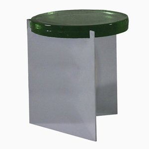 Alwa in argento con superficie in vetro verde Pulpo
