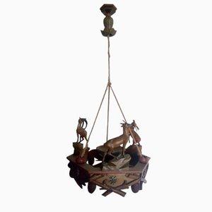 Lampada a sospensione in legno, Italia, anni '40