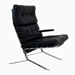 Mid-Century Belgian Chrome High-Back Lounge Chair, 1970s