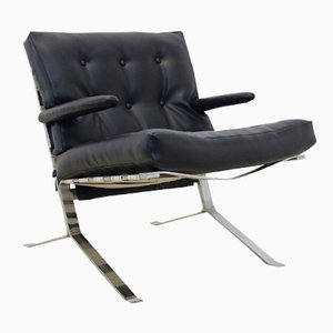 Mid-Century Belgian Chrome Low-Back Lounge Chair, 1970s