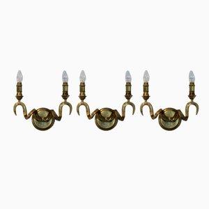 Applique a forma di corna di ariete in ottone di Kullmann, Germania, anni '70, set di 3