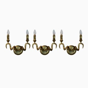 German Brass Rams Head Wall Sconces from Kullmann, 1970s, Set of 3