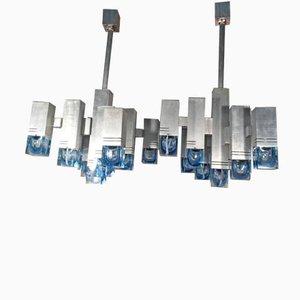 Lámparas de araña italianas grandes de Gaetano Sciolari, años 70. Juego de 2