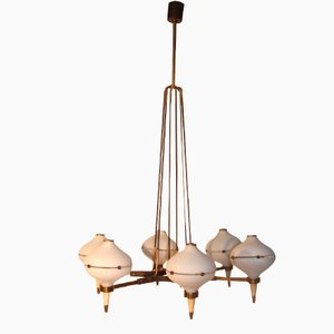 Mid-Century Italian Chandelier with Six Glass Shades, 1950s