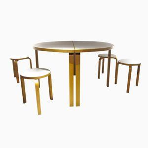Finnische Tischgruppe von Alvar Aalto für Artek, 1980er, 6er Set