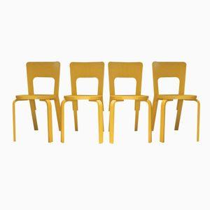 Finnische Modell 66 Stühle von Alvar Aalto für Artek, 1980er, 4er Set
