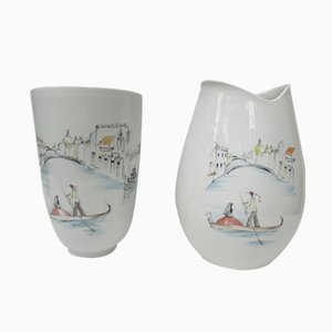 German Handpainted Vases from Hutschenreuther, 1950s, Set of 2
