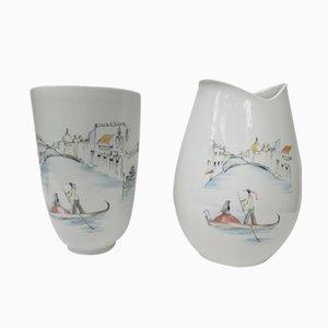 Vasi dipinti a mano di Hutschenreuther, Germania, anni '50, set di 2