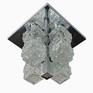 Lámpara plafón de techo vintage de cristal de hielo de Hillebrand