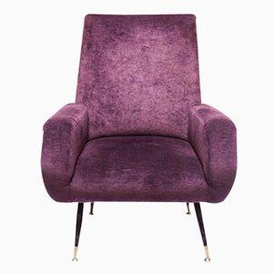 Italian Mid-Century Velvet Lounge Chair