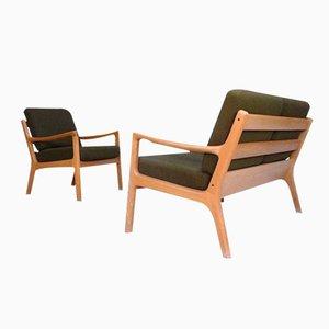 Chaises Senator en Chêne et Canapé par Ole Wanscher pour Cado, Danemark, 1960s, Set de 2