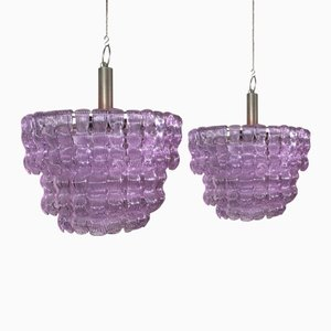 Lámparas de araña italianas de cristal de Murano hechas a mano, años 60. Juego de 2