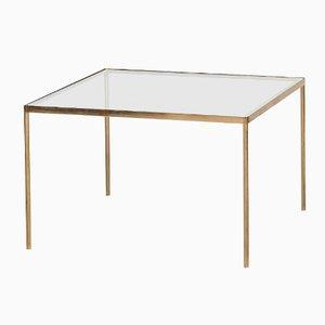 Table Basse Mid-Century en Laiton et en Verre, 1950s