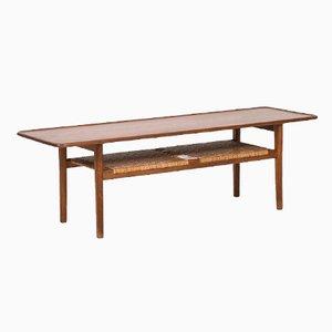 Mesa de centro AT 10 danesa de teca y caña de Hans Wegner para Andreas Tuck, años 50
