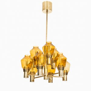 Swedish Brass & Yellow Glass Chandelier by Hans Agne Jakobsson, 1960s