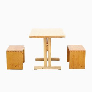 Table et Tabourets Mid-Century par Charlotte Perriand pour Les Arcs