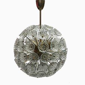 Lampada da soffitto grande in cristallo di Werksentwurf per VEB Ebersbach, Germania, anni '50