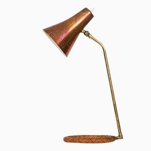Lampada da tavolo in rame, ottone e pelle, Scandinavia, anni '50