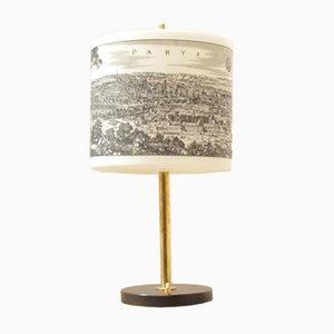 Französische Mid-Century Schreibtischlampe mit bedrucktem Glasschirm, 1950er