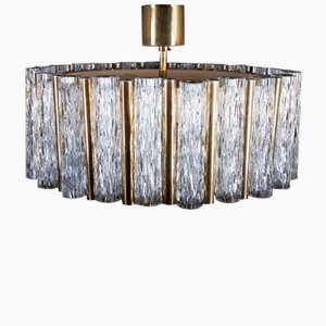 Mid-Century Ice Glass Chandelier from Kaiser Leuchten